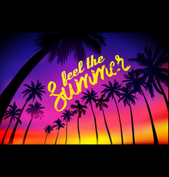 summer tropical background with palms sky and vector image