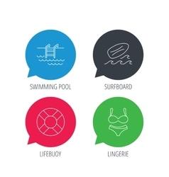 Surfboard swimming pool and bikini icons vector
