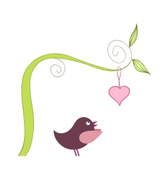 bird and heart vector image vector image