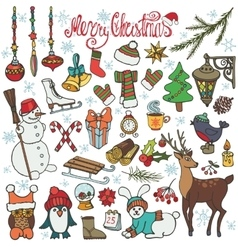 Christmas season doodle iconsanimalsColored vector image vector image