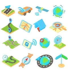 Navigation icons set isometric 3d style style vector image
