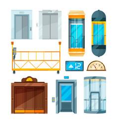 set of different modern glass elevators vector image
