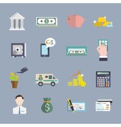 Bank service icons flat set vector image