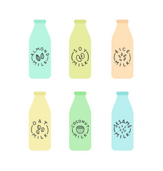 set of bottles with plant based milk vector image vector image