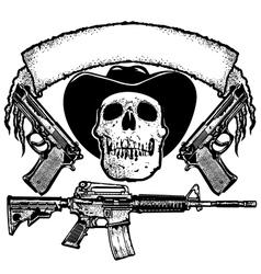 skull guns and banner vector image vector image
