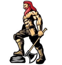 warrior standing hold an axe vector image