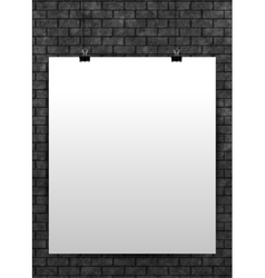 White poster mock up template on black brick wall vector image