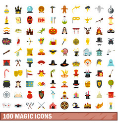 100 magic icons set flat style vector