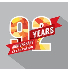 92nd Years Anniversary Celebration Design vector