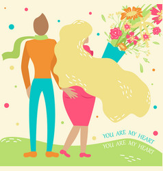 a couple in love walks in an embrace with a vector image