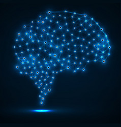 abstract polygonal brain with glowing dots vector image