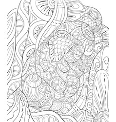 Adult coloring bookpage a cute sleeping dog on vector