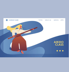 Aikido concept banner or landing page template vector