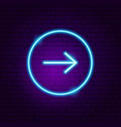 Arrow button neon sign vector