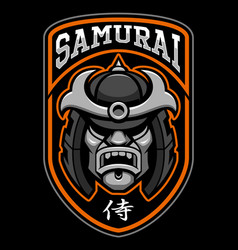 badge of samurai warrior vector image