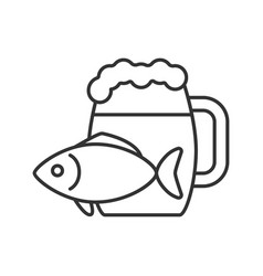 Beer mug with salty fish linear icon vector