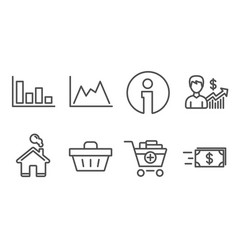 Business growth add products and histogram icons vector