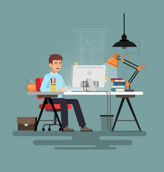 businessman sitting at desk working on pc vector image