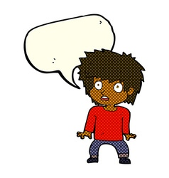 Cartoon frightened boy with speech bubble vector