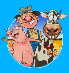 Cartoon joyful farmer hugging a pig and a cow vector