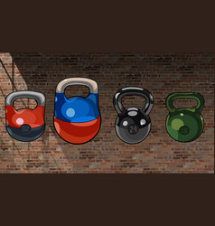 Cartoon multicolored mixed kettlebell on a brick vector