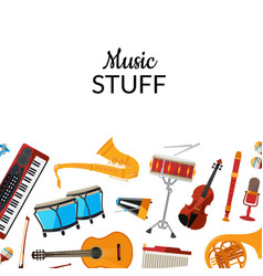 Cartoon musical instruments background with vector