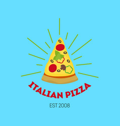 cartoon pizzeria sign color card poster vector image