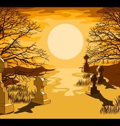 Cemetery landscape vector