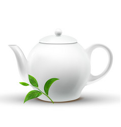 Ceramic white teapot with green tea leaf vector
