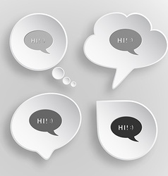 Chat symbol White flat buttons on gray background vector image