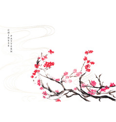 Cherry blossom background with watercolor texture vector