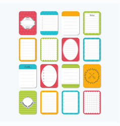Collection of various note papers cute design vector