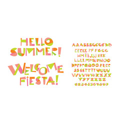 colorful childish font letter set vector image