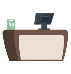 counter with computer for counting cashier desk vector image