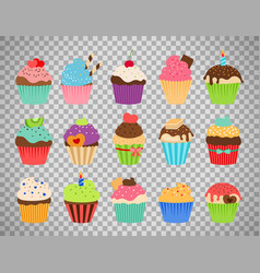 Cupcakes flat icons on transparent background vector