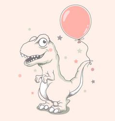 Cute baby dinosaur with balloon vector