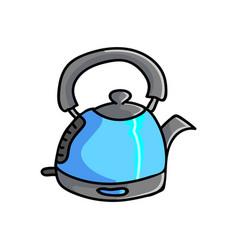 Cute blue kettle cartoon vector