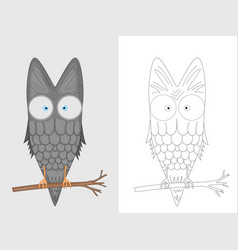 decorative owl coloring page adult antistress vector image