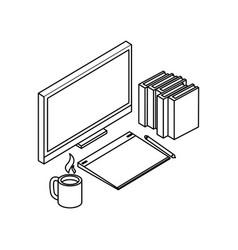 desktop with ebooks icon vector image