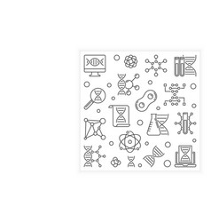 dna outline square banner or design element vector image