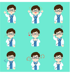 doctor with different emotions cartoon vector image