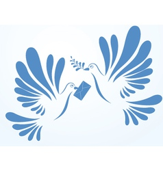 doves with mail and spray vector image