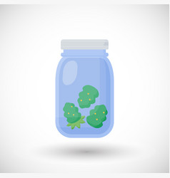 Dried marijuana buds in jar flat icon vector