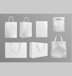 eco bag mockup realistic canvas paper handbags vector image