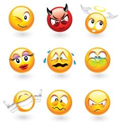 emoticons set vector image