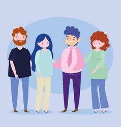 family couples pregnant woman parents together vector image