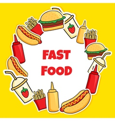 fast food wreath vector image
