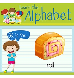 Flashcard letter R is for roll vector