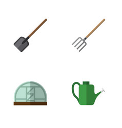 Flat icon dacha set of shovel hay fork hothouse vector