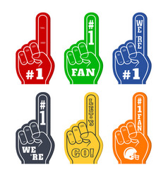 Foam fingers icons in six colors were number 1 vector